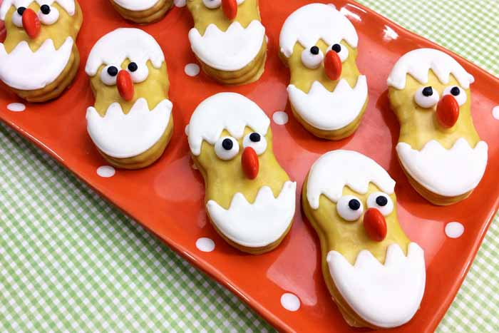 easter chick cookies on a plate