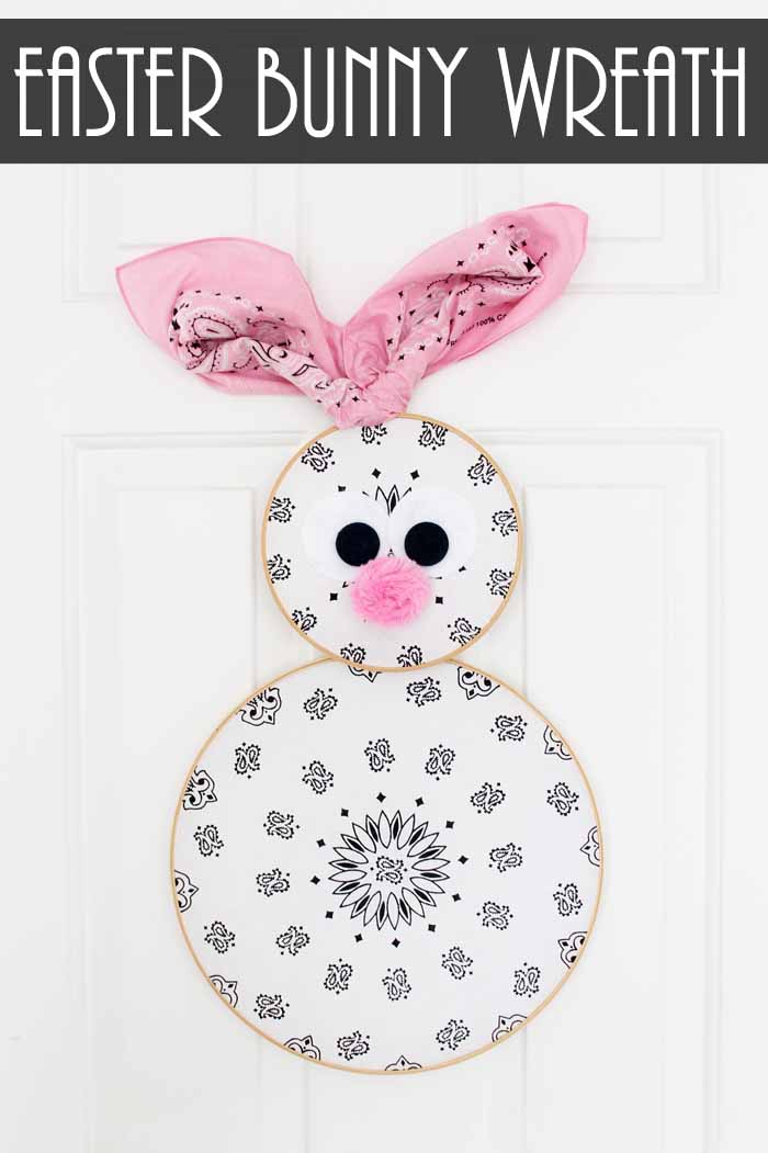 An easy DIY Easter wreath! Turn a few bandannas into an Easter bunny wreath for your front door! #easter #easterbunny