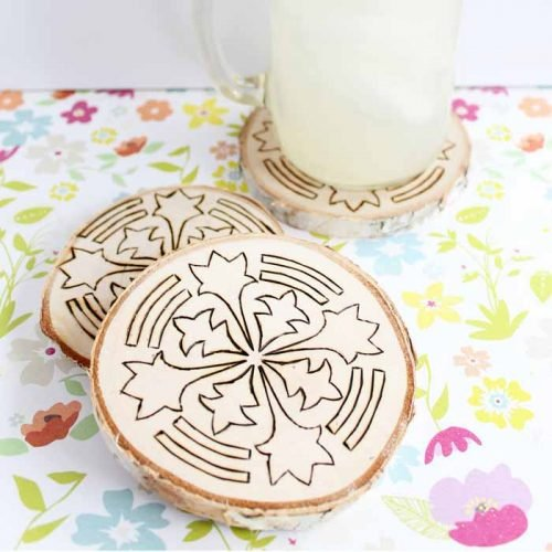 wood coasters with a wood burning tool