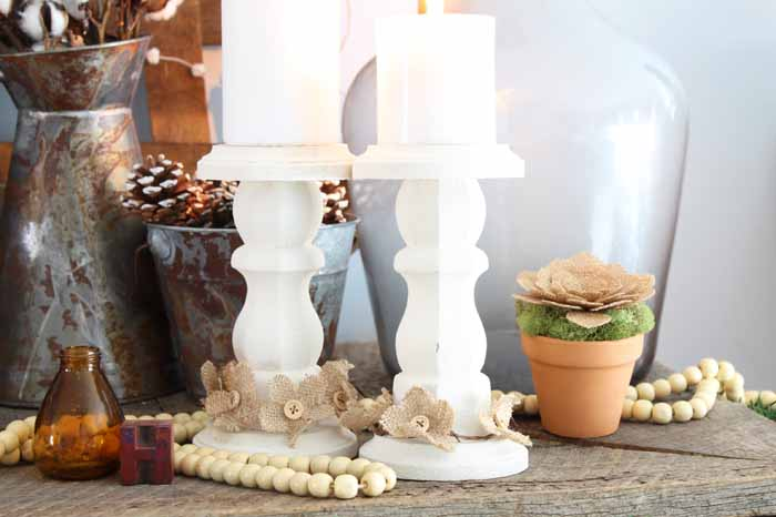 rustic farmhouse candlesticks