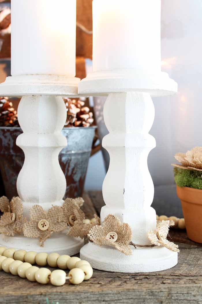 rustic finish on farmhouse candlesticks