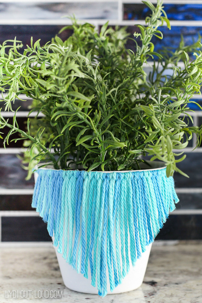 macrame inspired painted clay pot project