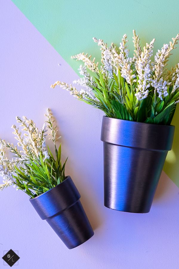 Metallic painted flower pot tutorial