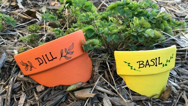 Herb garden painted clay pot markers