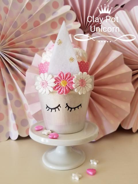 Painted unicorn flower pot project