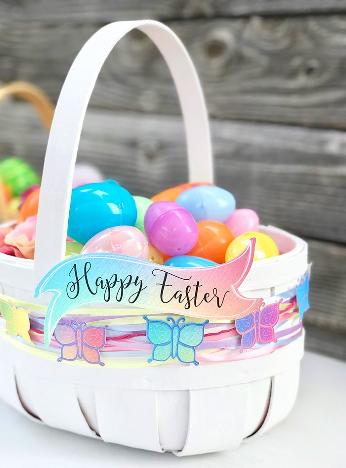 adding happy easter banner to a basket