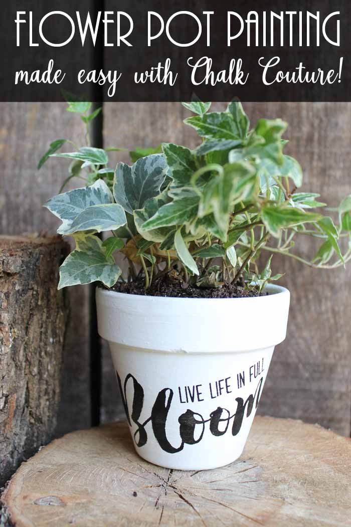 Flower pot painting made easy with Chalk Couture! It has never been easier to decorate your flower pots for spring and summer! These make great gifts for Mother's Day and more!
