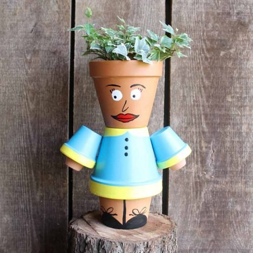 clay pot planter that looks like a person