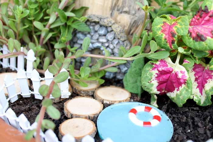 A group of pink flowers in a fairy garden