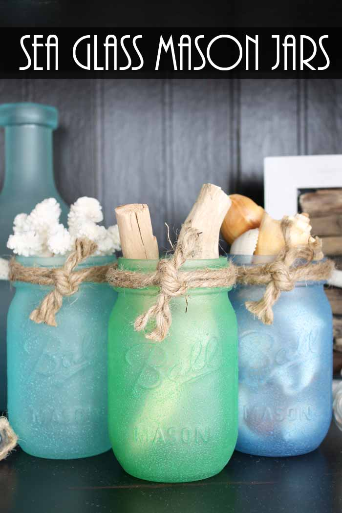 Painted mason jars with sea glass paint! A quick and easy project perfect for beach or nautical themed home decor!