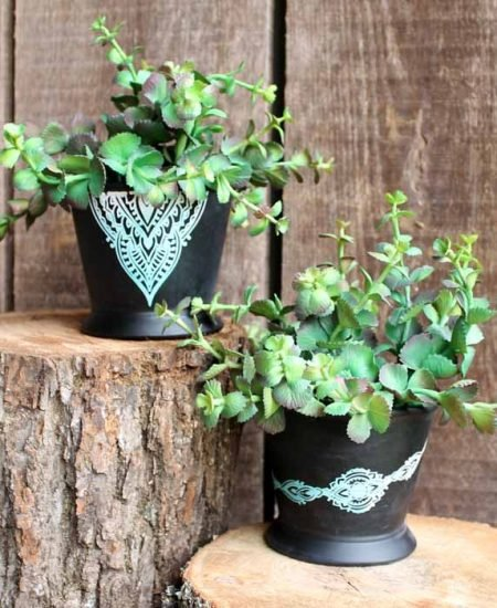 pot decoration with chalk couture