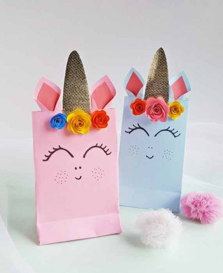 These unicorn party bags are perfect for birthdays and so much more! Get the free template and make your own in minutes!