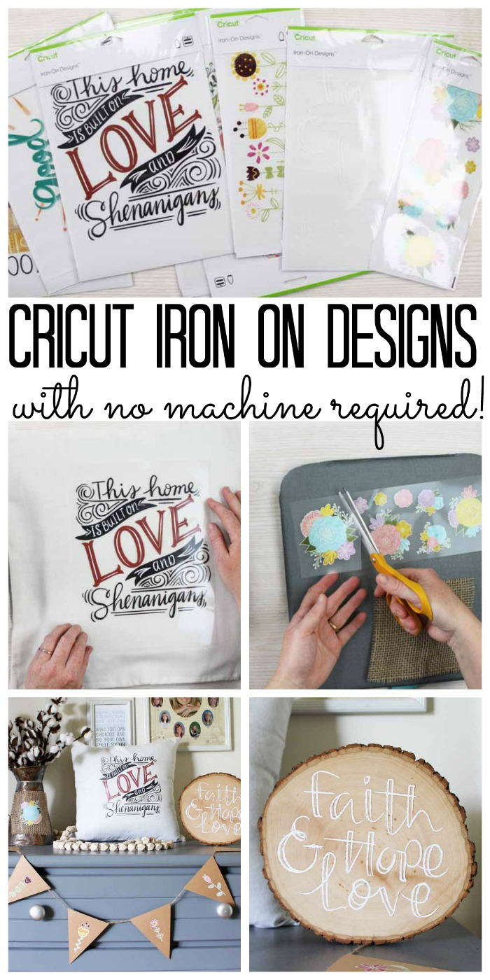 Instructions on how to use Cricut Iron-On Designs on a wide variety of surfaces to create fun projects in 5 or 10 minutes with no Cricut machine required! So many options and ideas!