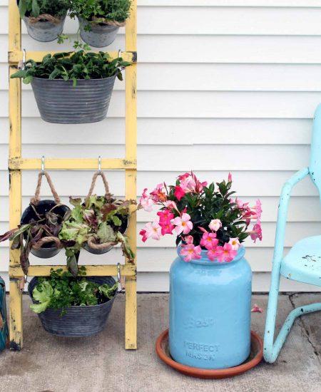 diy vertical garden on a porch