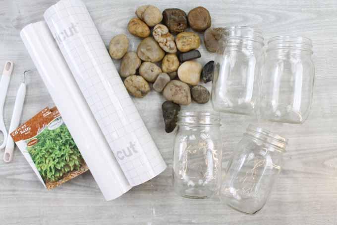 supplies to make an herb garden from pint mason jars