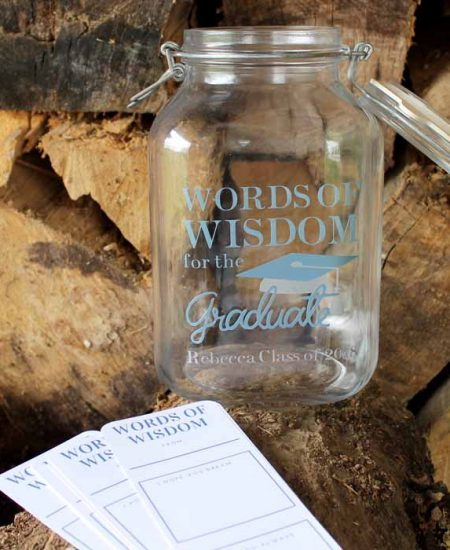 Need graduation party ideas? Try this advice jar with free printable advice cards! Make it with your Cricut and some vinyl for a personalized touch!