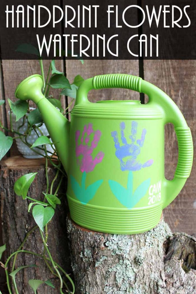 handprint flowers watering can gift idea
