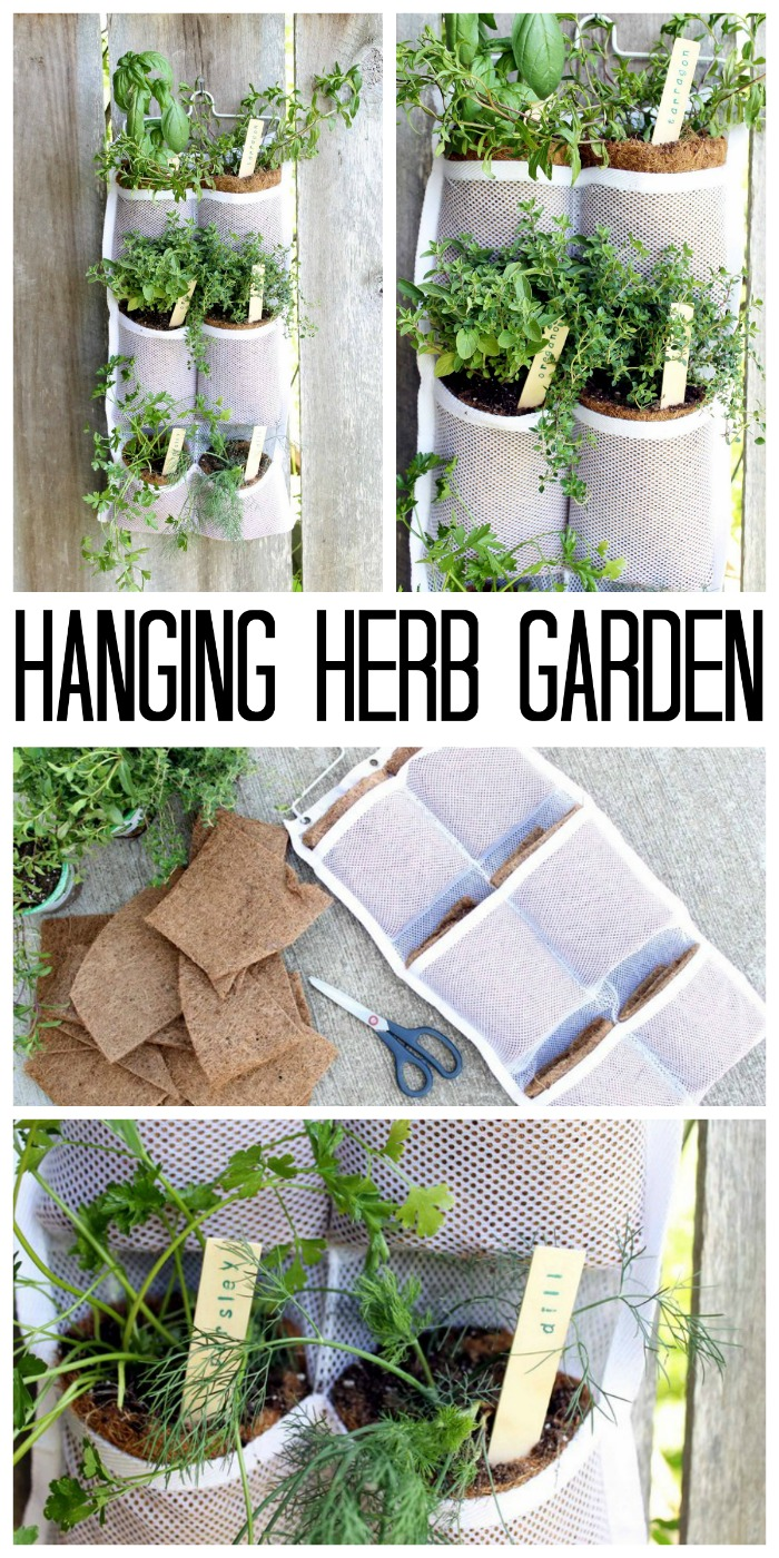Make your own hanging herb garden with a hanging organizer. Quick, easy, and oh so pretty! Perfect for small spaces! #herbs #herbgarden #summer
