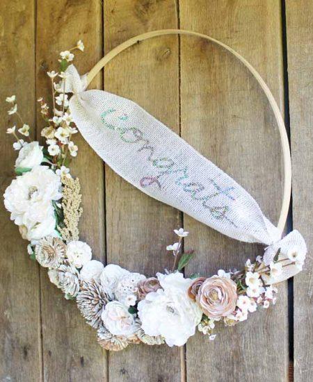 hoop wreath made with a cricut