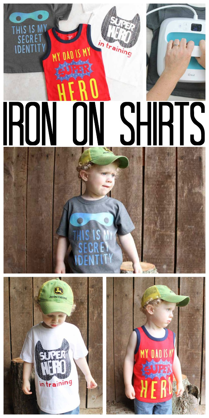 Make an iron on shirt for your toddler or child in minutes! These cute super hero shirts are so easy to make with your Cricut! Get the cut files and start on your own! #cricut #cricutmade #cricutmaker #shirt #gift #toddler #kids #superhero #CricutStrongBond