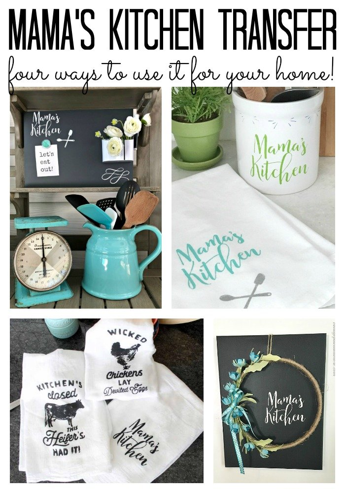Great ideas for the Mama's Kitchen transfer from Chalk Couture! So many possibilities for crafting and home decor!