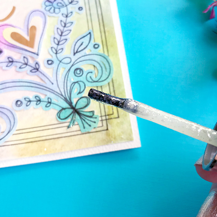 adding accents to a DIY mother\'s day card