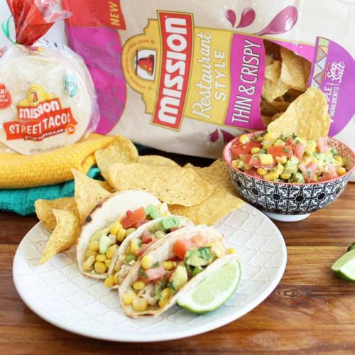 mexican meal with sweet corn salsa