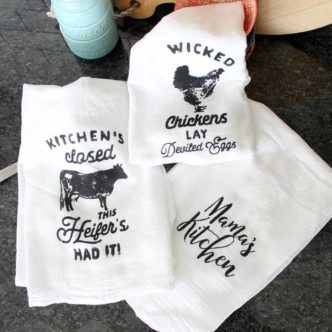 Tea towel printing is super easy with Chalk Couture! See how to make these three tea towels in minutes with this product then whip up a bunch for yourself, as gifts, or to sell!