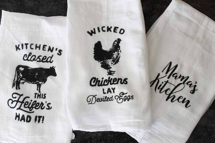 wicked chickens lay deviled eggs kitchen towel