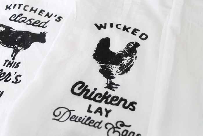 close up of chicken tea towel