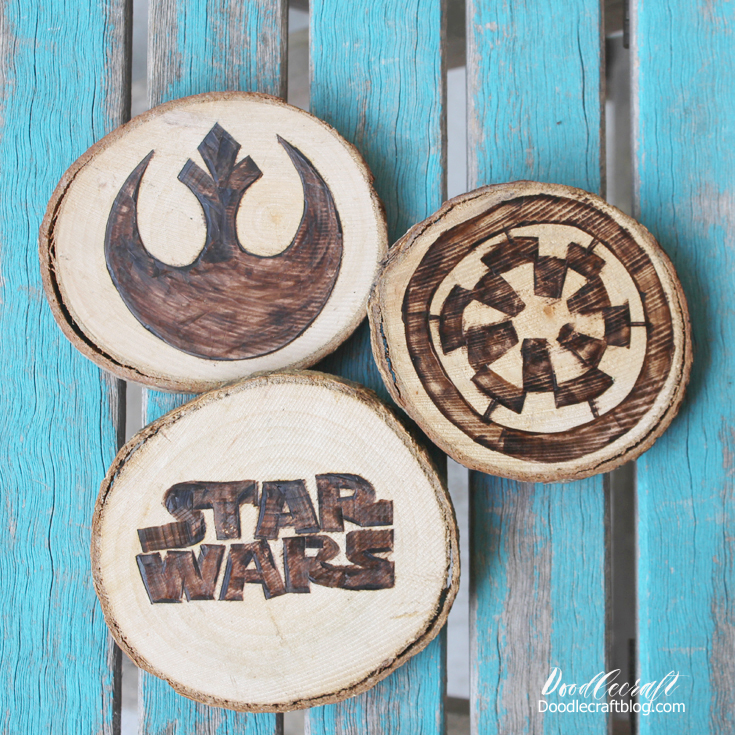 quick and easy crafts star wars wood burned coasters