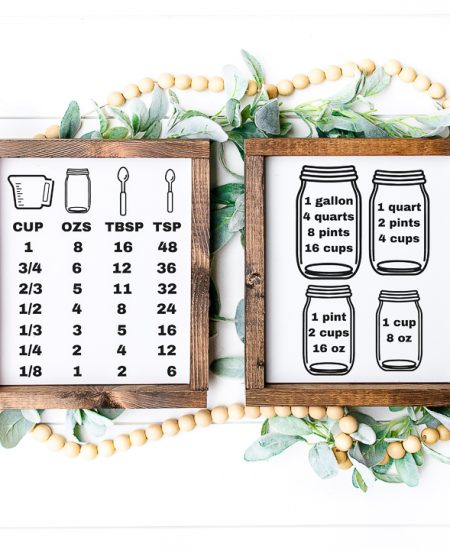 cooking conversion chart with a cricut