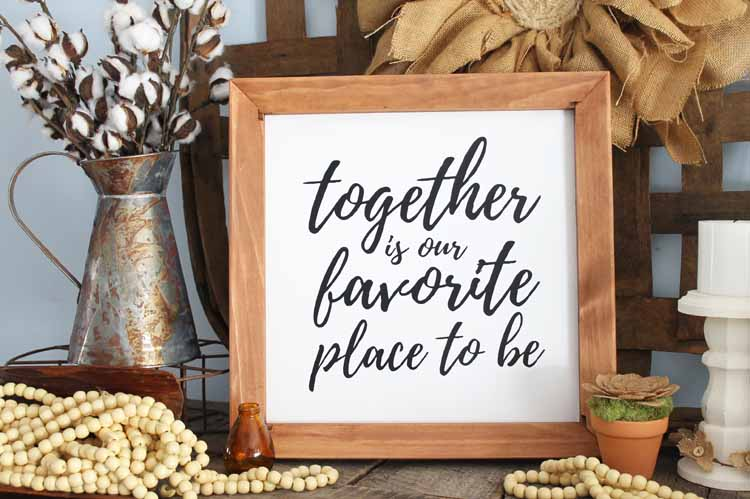 Make your own DIY canvas art with a custom quote! A great farmhouse style reverse canvas!