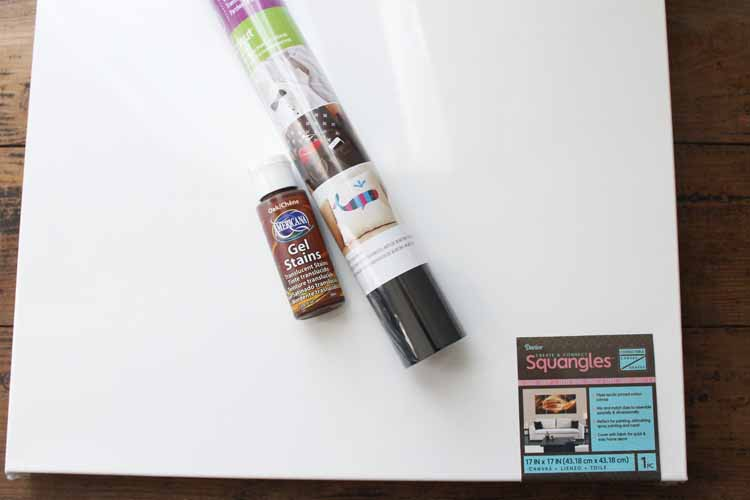 Supplies needed to make DIY canvas art.