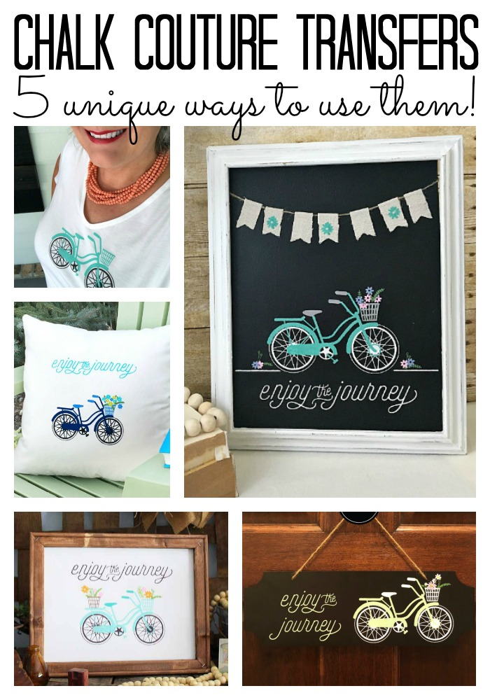 5 unique ways to use the enjoy the journey Chalk Couture transfer! So many options for making your own home decor, shirts, and so much more!