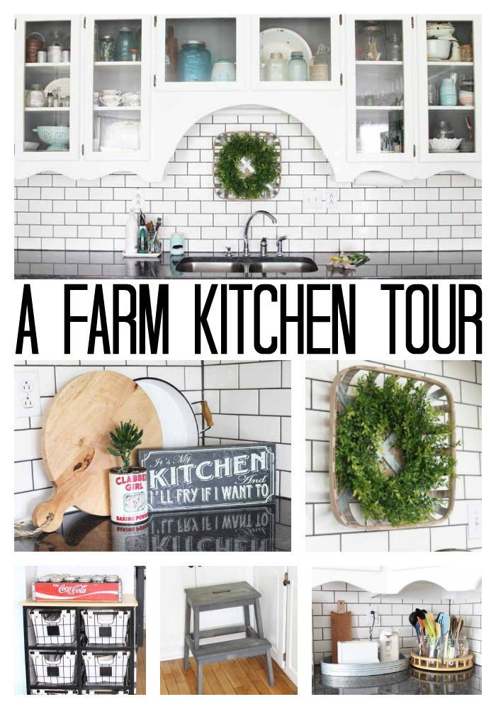 Farm kitchen inspiration in this home tour! Great ideas for your own farmhouse style home! #farmhouse #farmhousestyle #kitchen #farmkitchen #kitchenideas #homedecor #kitchendecor