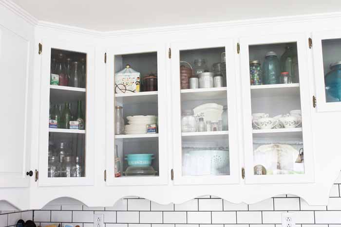 Upper cabinets in a farm kitchen.