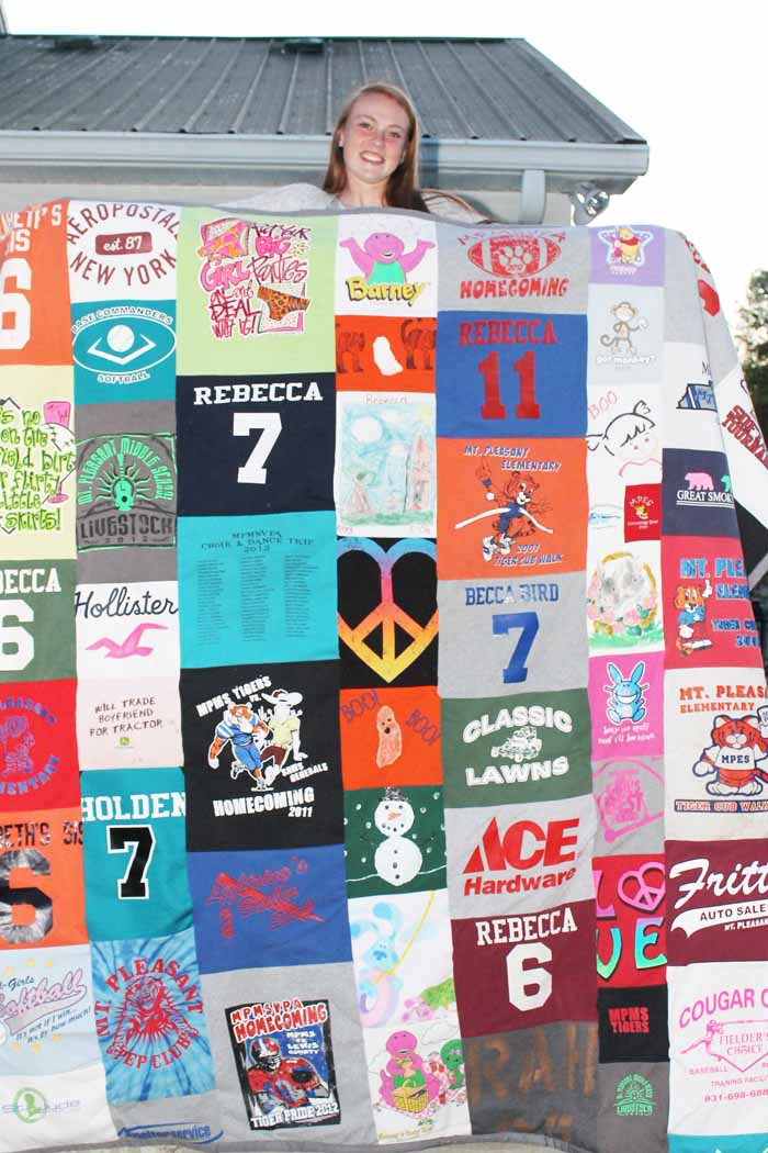 tshirt quilt for graduation