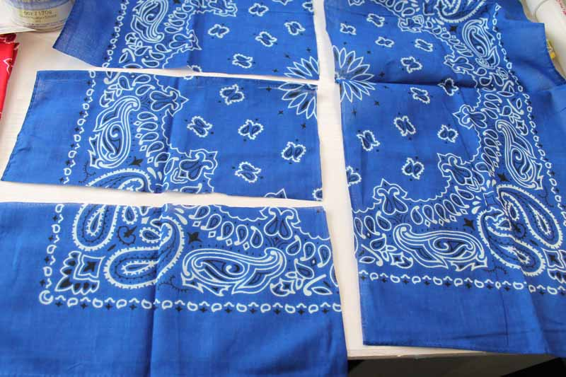 Blue bandana cut for bunting project