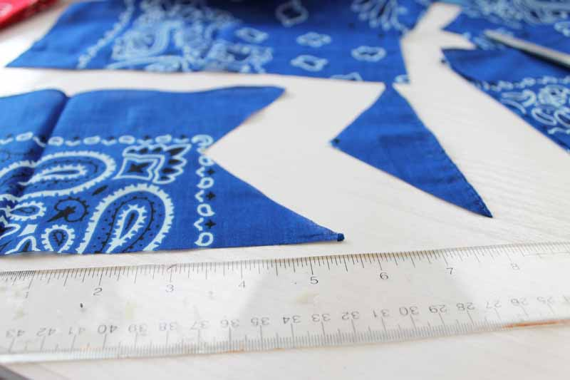 Cutting design in bandana for bunting