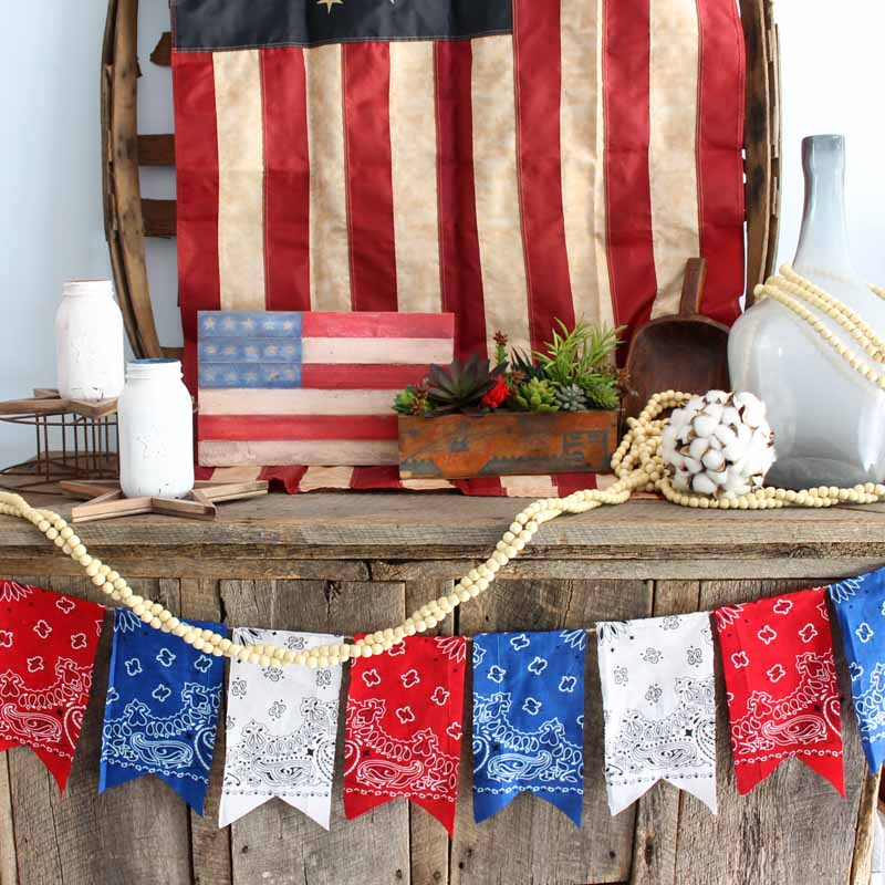 Patriotic themed table with red, white, and blue decor