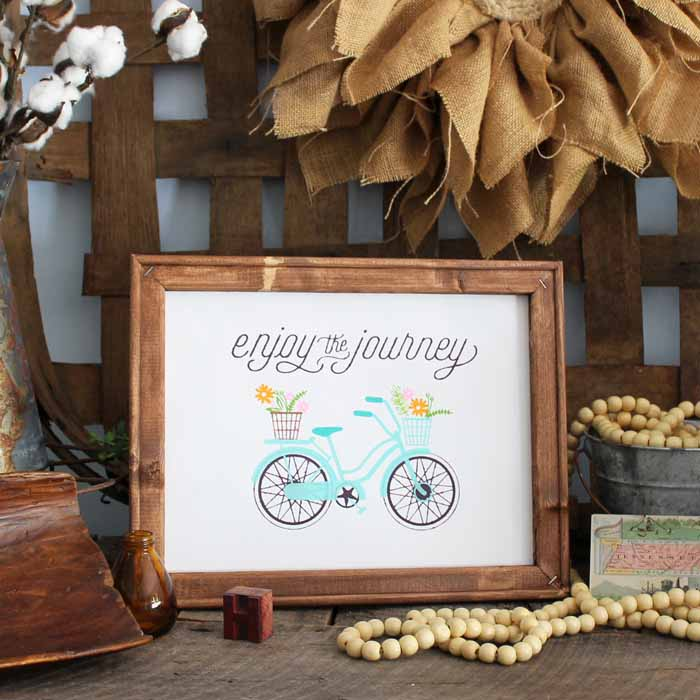 A tutorial for making a reverse canvas for your rustic farmhouse style home. This enjoy the journey Chalk Couture transfer is perfect for spring.