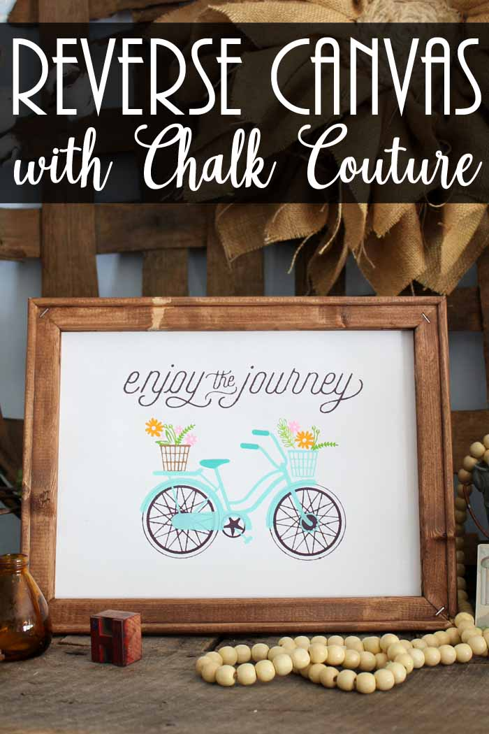 Make a reverse canvas with Chalk Couture for your farmhouse style home! This bicycle art is perfect for spring!
