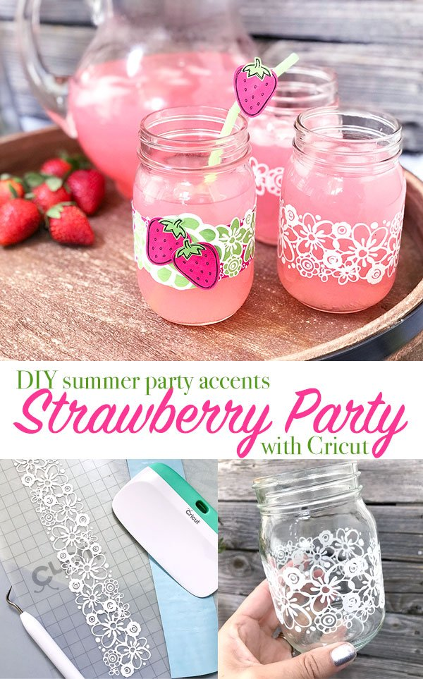 Have a strawberry party with this strawberry decor you can make with your Cricut machine! A quick and easy way to dress up mason jars as drinking glasses this summer! You might even use these for a lemonade stand!