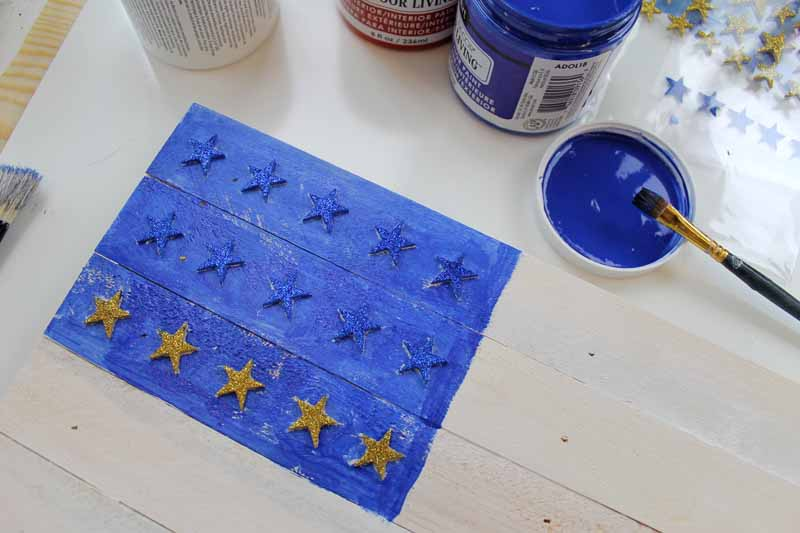 Masking for stars on a painted wooden flag