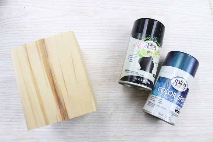 Supplies to make a wooden pencil holder.