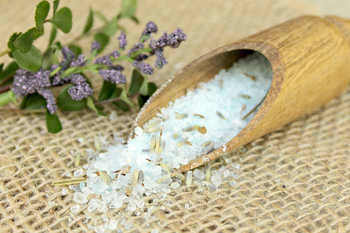 Make these homemade bath salts with essential oils that help soothe sore muscles
