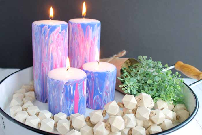 marbled candles on a tray