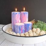 Marbling with Acrylic Paint on Candles