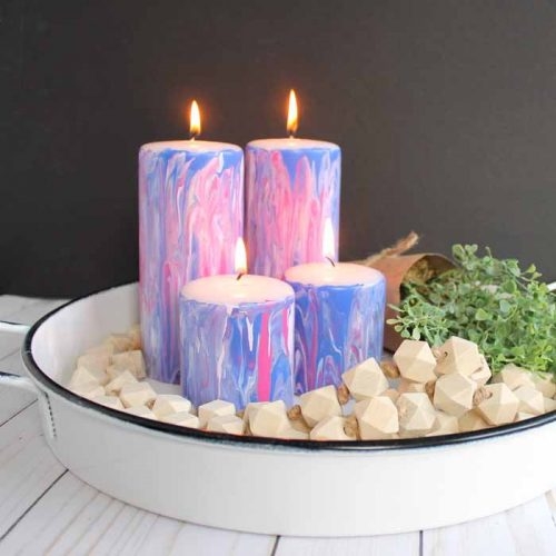 how to add marbled paint to candles